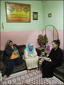 The Mohammadi family living in the old Gaza hospital (Photo by Phil Coomes)