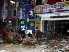 The site of a bomb attack in eastern Sri Lanka, 9 May, 2008