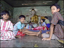 Children take shelter at a monastery at Bogalay, southern Burma. Photo: 9 May 2008