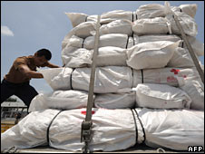 Aid for cyclone victims is loaded onto a plane in Bangkok, 10 May