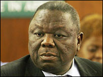 Morgan Tsvangirai in Pretoria, South Africa 10 May 2008