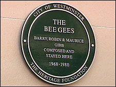 Green plaque honouring the Bee Gees