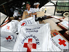 Aid delivery arrives in Yangon