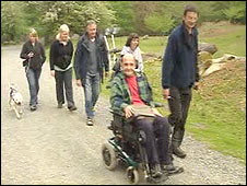 Roger Sawersby and others on the walk at Coedydd Aber in Snowdonia