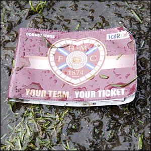 A discarded Hearts season ticket