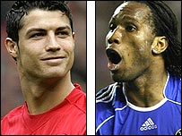 Cristiano Ronaldo (left) and Didier Drogba compete for the Premier League title