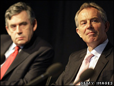 Gordon Brown (left) and Tony Blair in May 2008