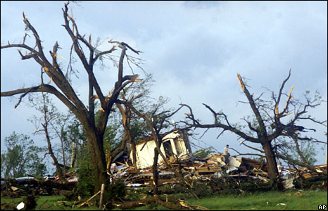 Several homes destroyed by a tornado near Seneca, Missouri, 10 May, 2008