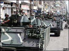 Lebanese soldiers are deployed in the northern city of Tripoli, 11 May, 2008