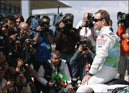 Brazil's Rubens Barrichello poses for the press at Istanbul Park