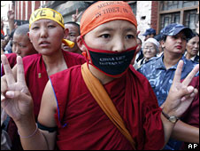 Female Tibetan exiles participate in a silent march in Kathmandu to protest against the Chinese government, 11 May, 2008