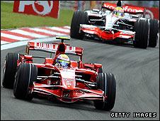 Felipe Massa leads Lewis Hamilton during the Turkish Grand Prix