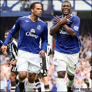 Yakubu celebrates scoring Everton's opener