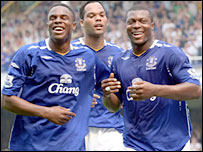 Everton trio Victor Anichebe, Joleon Lescott and Yakubu