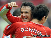 Tuncay and Stewart Downing celebrate Boro's opening goal