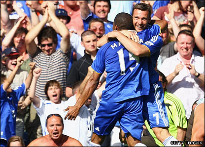 Andriy Shevchenko celebrates his goal for Chelsea