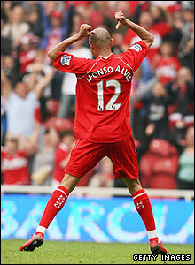 Boro's Afonso Alves celebrates
