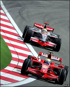 Felipe Massa leads Lewis Hamilton during the Turkish Grand Prix