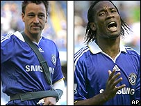 John Terry (left) and Didier Drogba were injured in the draw with Bolton