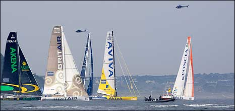 Transat yachts at Plymouth start