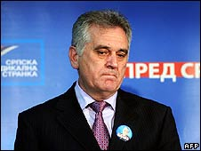 Tomislav Nikolic reacts to news of the results on election night in Belgrade