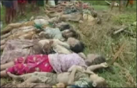 Video footage of bodies of children laid out in makeshift morgue
