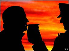 A man is breathalysed by a policeman (generic image)