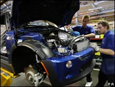 The production line at the BMW plant in Cowley, Oxford