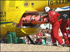 The injured 21-year-old man is flown to hospital from Southsea