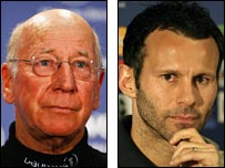 Sir Bobby Charlton and Ryan Giggs