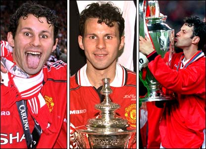 Giggs celebrates the treble in 1999: Premier League title, FA Cup and Champions League success