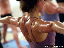 Sweating during a Bikram yoga class - conducted in the heat