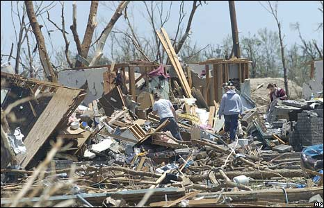 Residents sort through the remains of their home in Picher on 11 May 2008