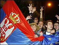 Supporters of President Boris Tadic