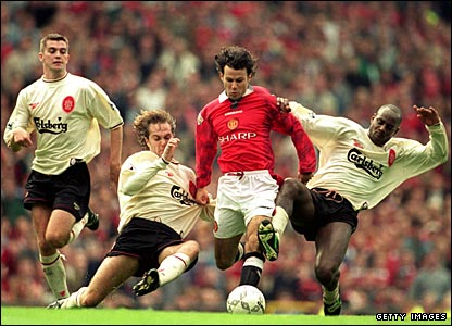 Ryan Giggs in action against Liverpool in 1996