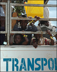 Kids on a UN truck at Kiryandongo Refugee Camp