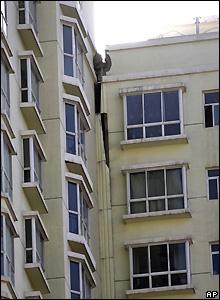 Damaged building in Lanzhou, Gansu province