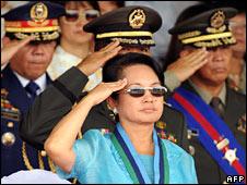 President Gloria Arroyo at military ceremony