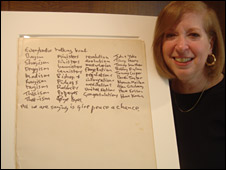 Gail Renard with John Lennon's lyrics