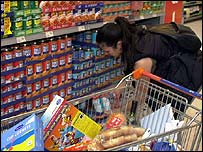 A woman shopping in a supermarket