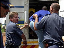 Johannesburg police arrest a man
