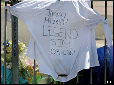 A T-shirt and ties are left on railings near to where Jimmy died by classmates
