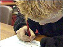 Pupil taking Key Stage 2 test