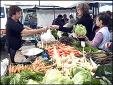 Market stall selling vegetables