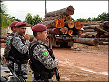 Soldiers watch logging operation