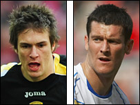 Cardiff's Aaron Ramsey and Portsmouth's David Nugent
