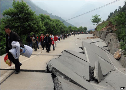 Damaged road in Beichuan, Sichuan, China