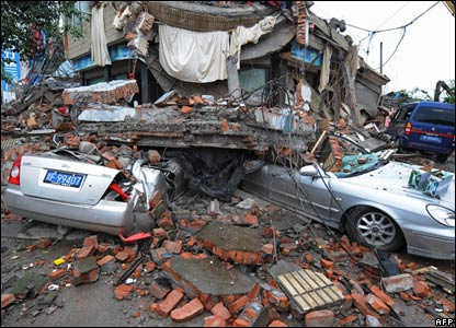 Quake damage in the town of Hanwang, Sichuan