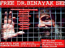 A poster demanding Dr Sen's release