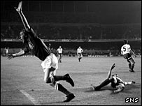 Rangers legend Colin Stein wheels away to celebrate his opening goal in the 1972  Cup-Winners' Cup final